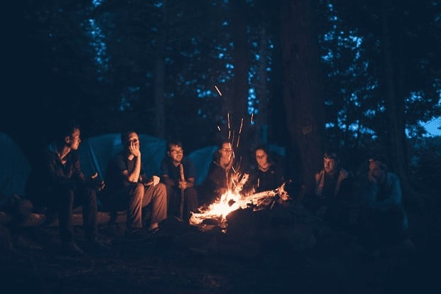 people camping forest